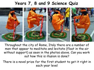 Years 7, 8 and 9 Science Quiz