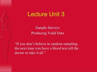 Lecture Unit 3