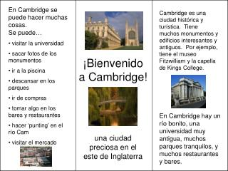 ¡ Bienvenido a Cambridge!
