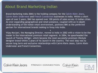 brand marketing india (bmi) - calvin klein (ck) jeans & underwear, french connection (fcuk) in india