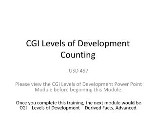 CGI Levels of Development  Counting