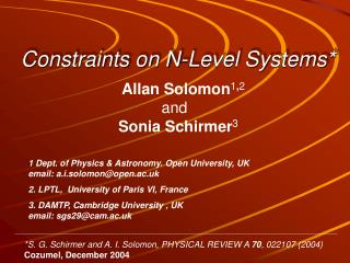 Constraints on N-Level Systems*