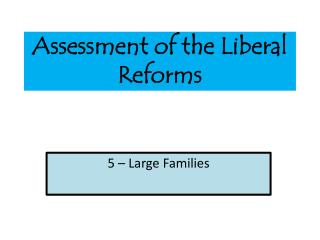 Assessment of the Liberal Reforms