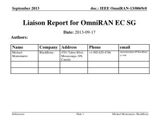 Liaison Report for  OmniRAN  EC SG