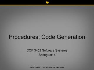 Procedures: Code Generation