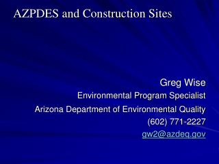 AZPDES and Construction Sites