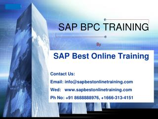 Sap Bpc Training in hyderabad | Sap BpcOnline Training in I