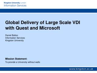 Global Delivery of Large Scale VDI with Quest and Microsoft
