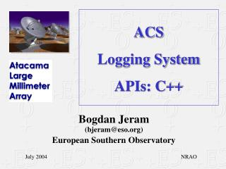 ACS Logging System APIs: C++