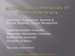 Institutional Approaches to Curriculum Design