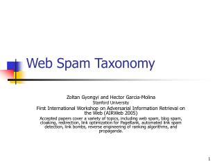 Web Spam Taxonomy