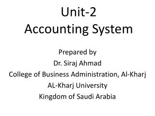 Unit-2 Accounting System