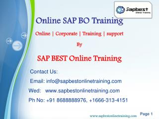 SAP BO Online Training India Hyderabad | SAP BO Project Sup