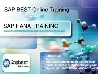 SAP HANA Online Training India Hyderabad | SAP HANA Project