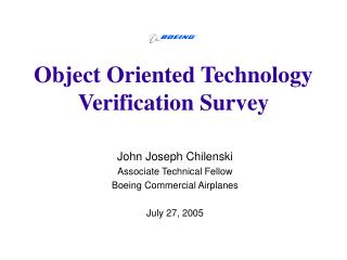 Object Oriented Technology Verification Survey