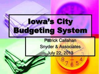 Iowa�s  City Budgeting System