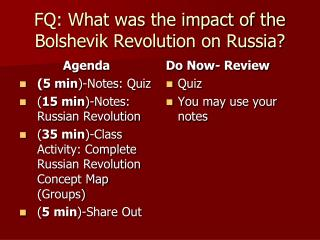 FQ: What was the impact of the Bolshevik Revolution on Russia?