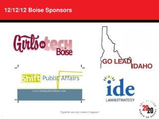 12/12/12 Boise Sponsors
