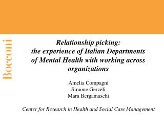 Relationship picking: the experience of Italian Departments of Mental Health with working across