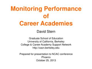 Monitoring Performance of Career Academies