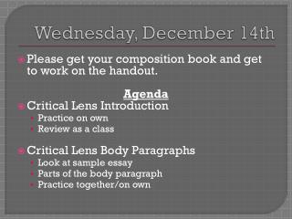 Wednesday, December 14th