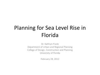 Planning for Sea Level Rise in Florida