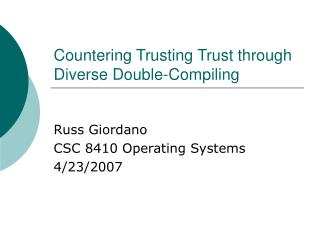 Countering Trusting Trust through Diverse Double-Compiling