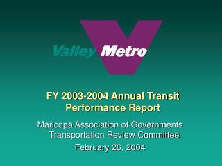 FY 2003-2004 Annual Transit  Performance Report