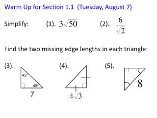 Warm Up for Section  1.1  (Tuesday, August 7)