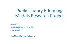 Public Library E-lending Models Research Project