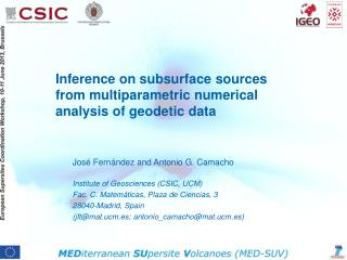 Inference  on  subsurface  sources  from multiparametric numerical analysis  of  geodetic  data