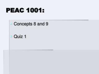 PEAC 1001: