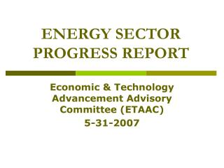 ENERGY SECTOR PROGRESS REPORT