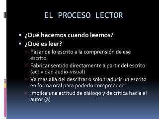 EL PROCESO LECTOR