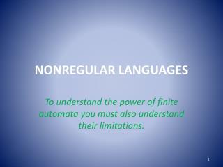 NONREGULAR  LANGUAGES