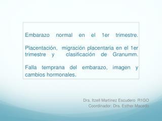 Dra. Itzell Martínez Escudero  R1GO Coordinador: Dra. Esther Macedo