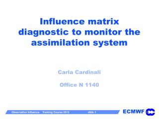 Influence matrix diagnostic to monitor the assimilation system Carla  Cardinali Office N 1140