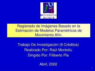 Registrado de Im�genes Basado en la Estimaci�n de Modelos Param�tricos de Movimiento Af�n.