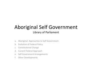 Aboriginal Self Government Library of Parliament