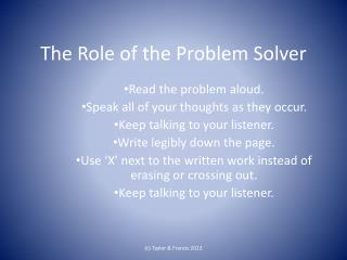 The Role of the Problem Solver