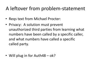 A leftover from problem-statement