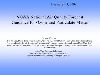 NOAA National Air Quality Forecast Guidance for Ozone and Particulate Matter