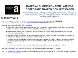 Material Submission template for Corporate Amazon Gift Cards