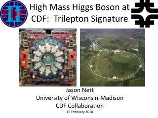 High Mass Higgs Boson at CDF:   Trilepton  Signature