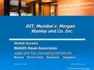 Shefali Goradia Nishith Desai Associates Legal and Tax Counseling Worldwide Mumbai  Silicon Valley  Bangalore   Singapor