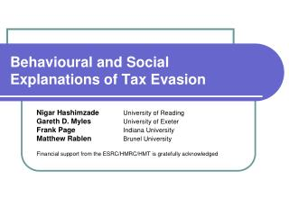 Behavioural and Social Explanations of Tax Evasion