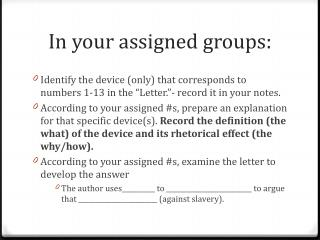In your assigned groups: