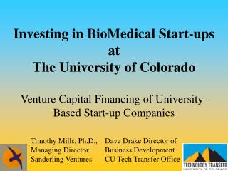 Timothy Mills, Ph.D., Managing Director Sanderling Ventures