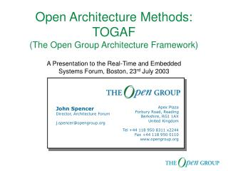 Open Architecture Methods: TOGAF  (The Open Group Architecture Framework)