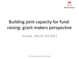 Building joint  capacity  for  fund-  raising : grant makers  perspective